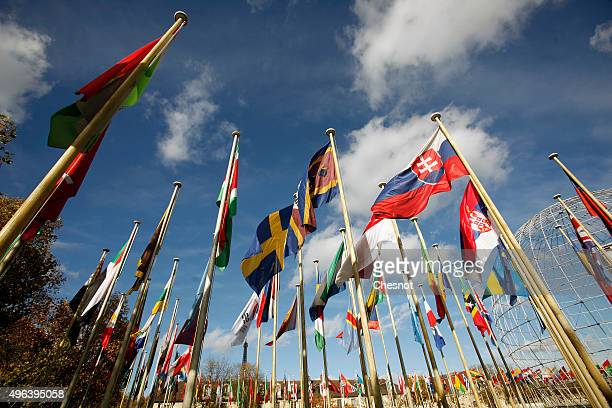 Flags of different nationalities fly in the garden of the Unesco headquarters in Paris France will host the Climate change conference where over 193...