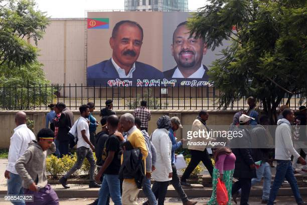 Flags of Ethiopian Prime Minister Abiy Ahmed and Eritrean President Isaias Afewerki are seen ahead of their meeting in Addis Ababa Ethiopia on July...
