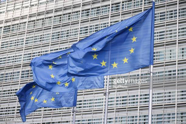 Flags of Europe or European Flag is the symbol of Council of Europe Coe and The European Union EU as seen in the Belgian capital Brussels in front of...
