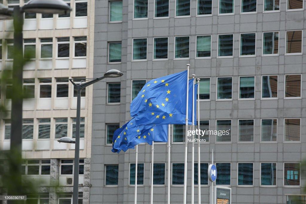 EU Flags In Brussels : ニュース写真