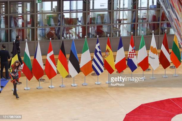 Flags of Europe or European Flag is the symbol of Council of Europe CoE and The European Union EU as seen with National flags of European Nations in...