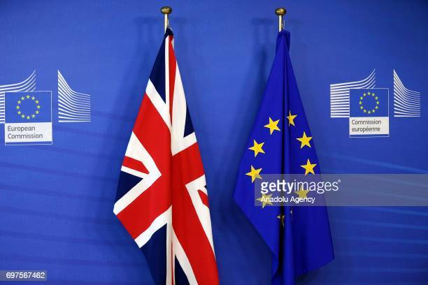 Flags of European Union and United Kingdom are seen ahead of a joint press conference of Michel Barnier chief negotiator for the European Union and...