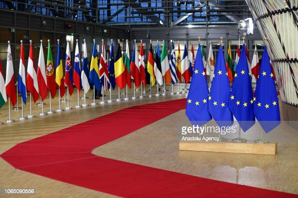 Flags of European Union member states are seen during the European Union Leader Summit on Brexit in Brussels Belgium on November 25 2018