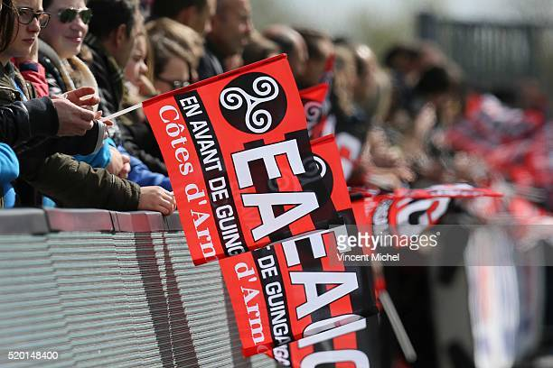 Flags of Guingamp's fans during the French League 1 match between EA Guingamp and Paris SaintGermain on April 9 2016 in Guingamp France