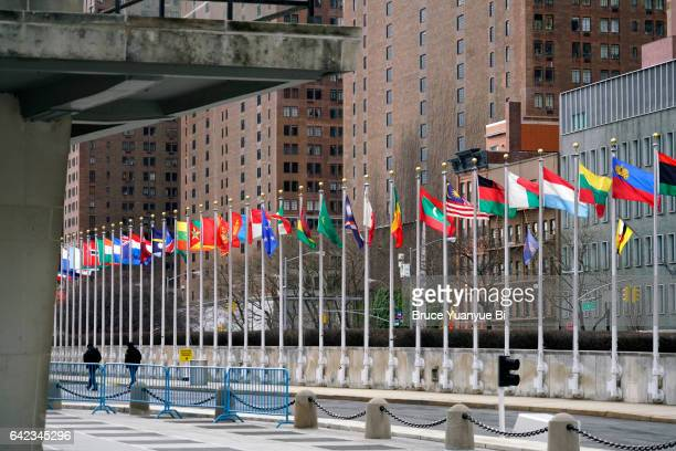 flags of member countries of united nations in un complex - united nations building stock pictures, royalty-free photos & images