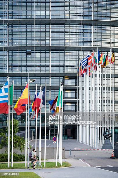 Flags of member states, European Parliament in background, Strasbourg, France