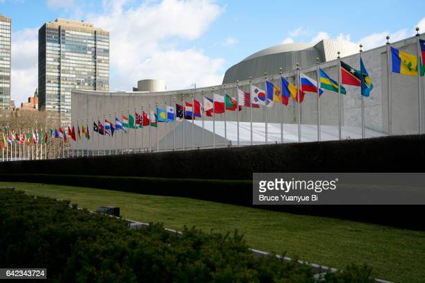 Flags of members of United Nations with General Assembly building in back