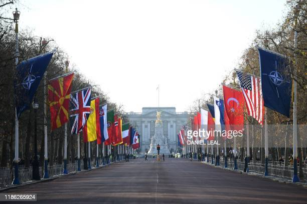 Flags of NATO member countries line the Mall in central London on December 3 ahead of the NATO alliance summit NATO leaders gather wednesday for a...