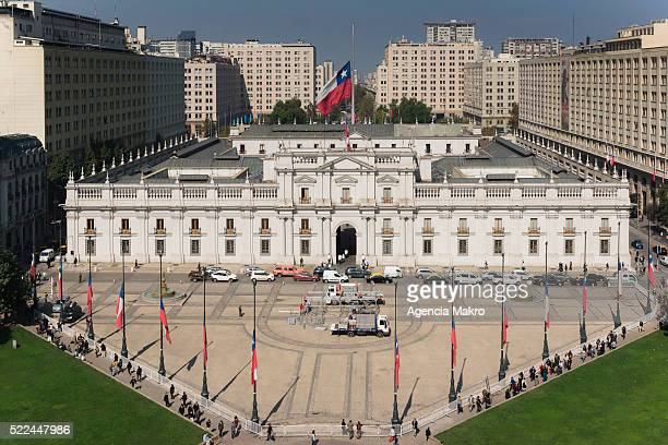 Flags of Palacio de La Moneda and Plaza de la Constitucion are seen at half mast for the death of former President of Chile Patricio Aylwin at 97 on...