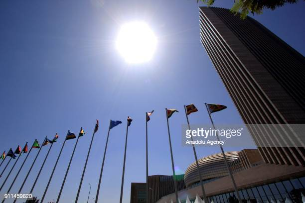 Flags of participant countries are seen during the 30th African Union Heads of State and Government Summit in Addis Ababa Ethiopia on January 28 2018