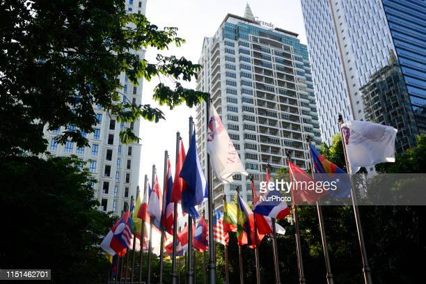 Flags of participating countries at the venue during the 34th ASEAN Summit in Bangkok Thailand 22 June 2019