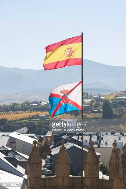 Flags of Spain and El Bierzo flying in Ponferrada