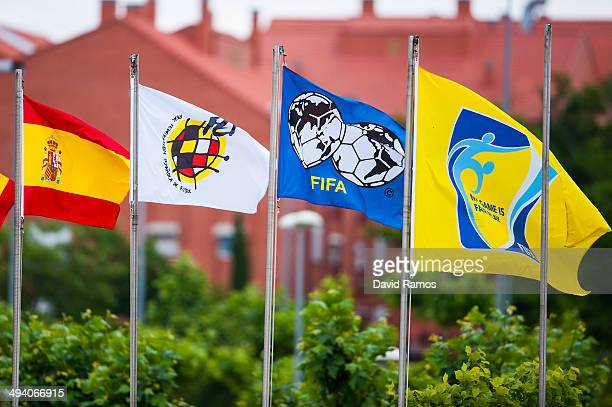 Flags of Spain Spain Football Federation and FIFA are seen at Ciudad del Futbol on May 27 2014 in Las Rozas de Madrid Spain