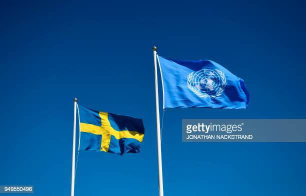 Flags of Sweden and the United Nations are pictured during the annual informal working meeting with the UN Security Council on April 21 2018 at Dag...