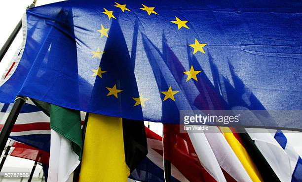 Flags of the European Union countries are gathered together ahead of the EU enlargement ceremony April 30 2004 in Dublin Ireland Ten new nations...