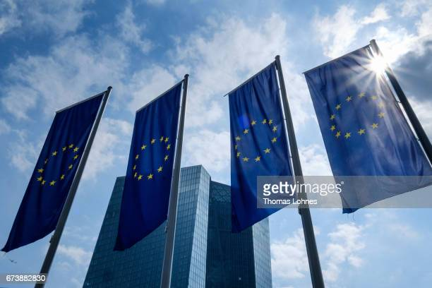 Flags of the European Union pictures in front of the European Central Bank heatquarters on April 27 2017 in Frankfurt am Main Germany