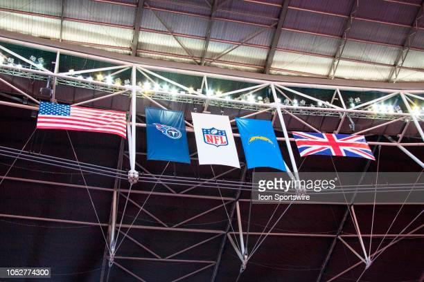 Flags of the two nations and the teams fly aside the NFL logo in London before the NFL game between the Tennessee Titans and the Los Angeles Chargers...