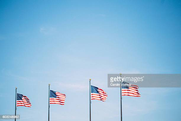 Flags of the United States of America in front of a clear blue sky