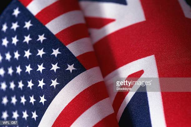 flags of united kingdom and united states of america - union jack stock photos and pictures