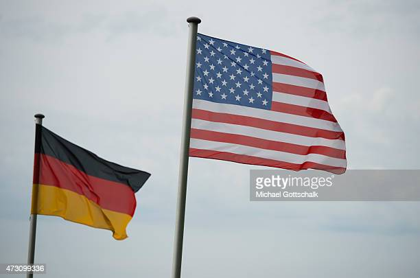Flags of USA and Germany on May 12 2015 in Torgau Germany