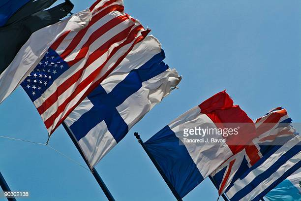 flags of usa denmark france new zealand - bavosi stock pictures, royalty-free photos & images