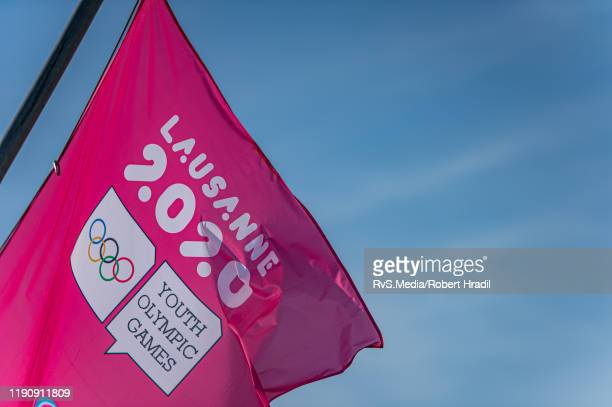 Flags of Youth Olympic Games are being displayed in city of Lausanne on December 28 2019 in Lausanne Switzerland The 2020 Winter Youth Olympic Games...