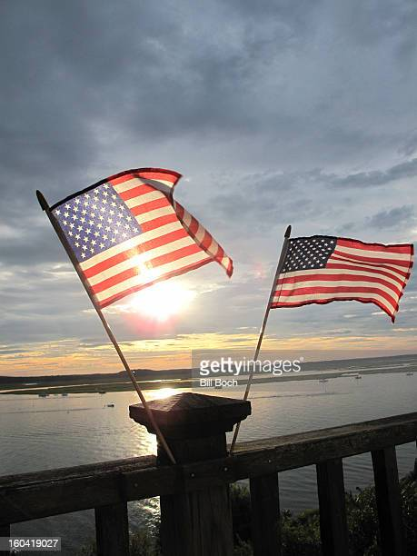 US flags on a deck