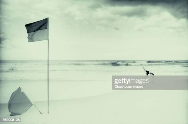 Flags on Beach