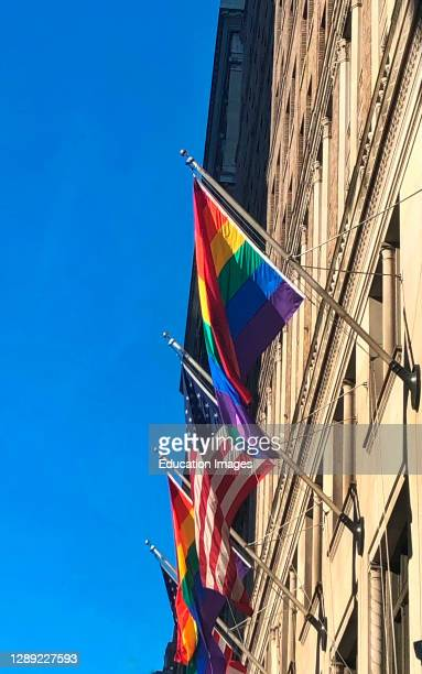 Flags on Madison Avenue in Midtown to celebrate Gay Pride week in New York City.