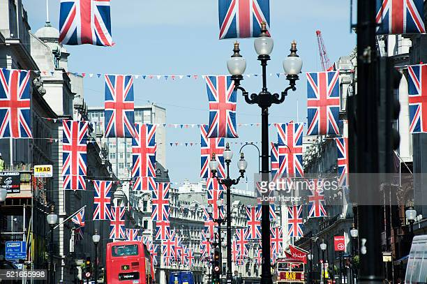 flags on regent street during royal wedding 2011, london, u.k. - catherine duchess of cambridge photos stock pictures, royalty-free photos & images