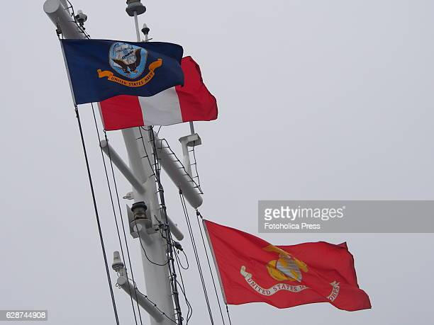 Flags on top of USNS Pililaau A USMC task force arrived to Lima on board USNS Pililaau for humanitarian exercises with their Peruvian counterparts as...