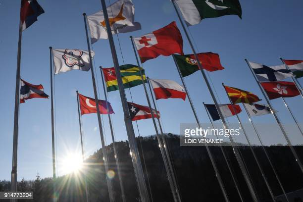 Flags raised at the Olympic village, a few days prior to the Pyeongchang 2018 Winter Olympic Games at the Olympic Village in Pyeongchang on February...