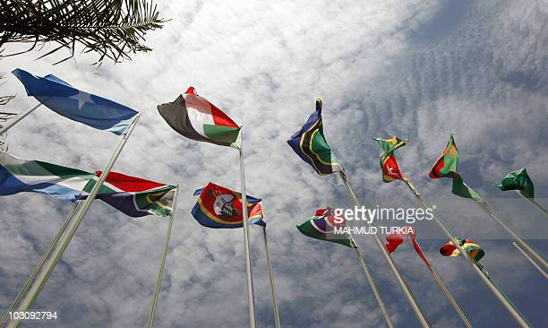 Flags representing some of the 30 different nations taking part in the 15th African Union Summit flutter at the entrance of the convention hall on...