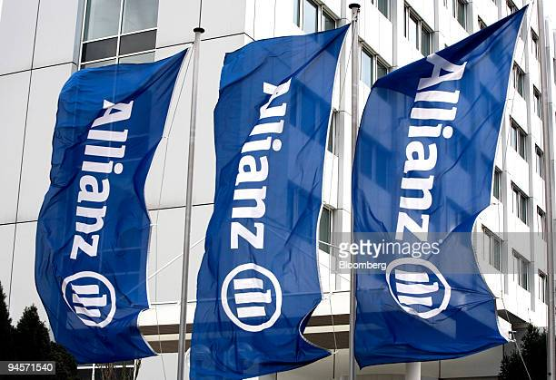 Flags wave in front of Allianz offices in Frankfurt Germany on Friday Nov 9 2007 Allianz SE Europe's biggest insurer reported a 21 percent increase...
