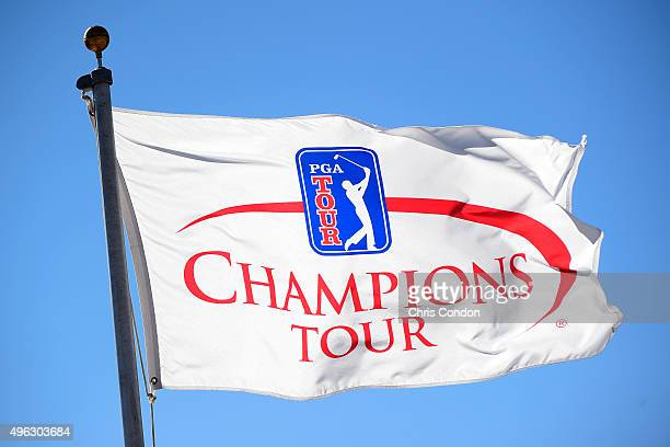 Flags wave in the breeze during the final round of the Champions Tour Charles Schwab Cup Championship at Desert Mountain Club on November 8, 2015 in...