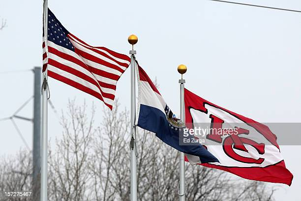 Flags wave in the wind outside of The University of Kansas Hospital Training Complex used by the Kansas City Chiefs next to Arrowhead Stadium...
