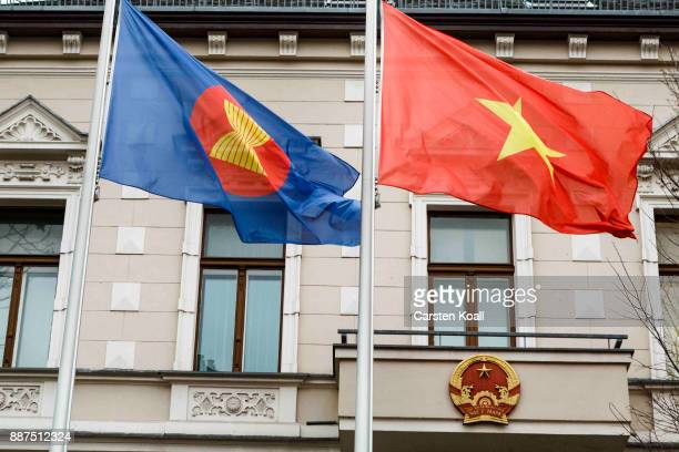Flags waving in front of the Vietnamese Embassy on December 7 2017 in Berlin Germany According to German newspaper Sueddeutsche Zeitung evidence...