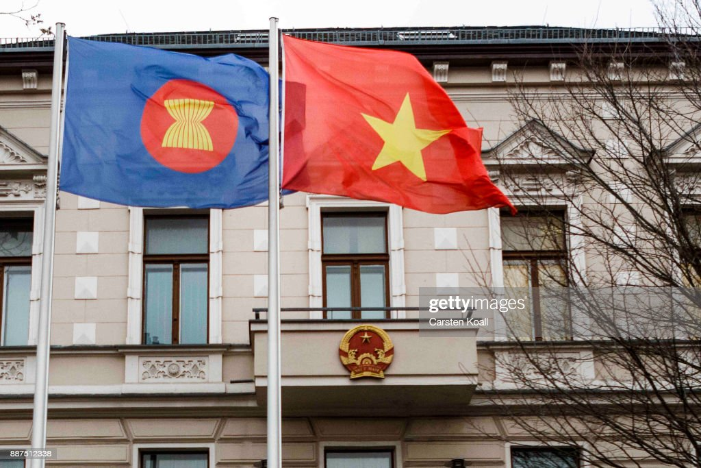 Flags waving in front of the Vietnamese Embassy on December 7, 2017 in Berlin, Germany. According to German newspaper Sueddeutsche Zeitung evidence suggests the Vietnamese Embassy had a direct role in the July 23 kidnapping of Vietnamese politician Trinh Xuan Thanh. Trinh, who had sought asylum Berlin after fleeing charges in Vietnam, was kidnapped in broad daylight on the street in Berlin. According to Sueddeutsche Zeitung the van used in the kidnapping drove directly to the Vietnamese Embassy and embassy employees took part in the getting him out of the country. Trinh appeared several days later in custody in Vietnam.