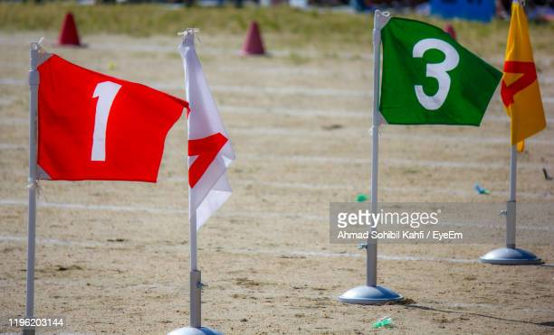 flags with numbers on land - number 3 stock pictures, royalty-free photos & images