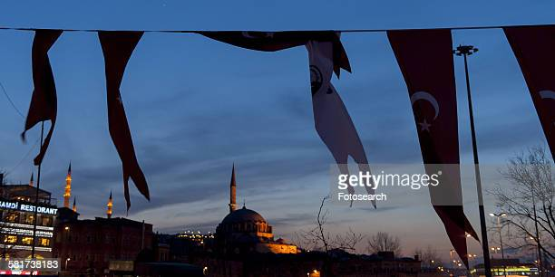 Flags with Rustem Pasha Mosque in the background, Istanbul, Turkey