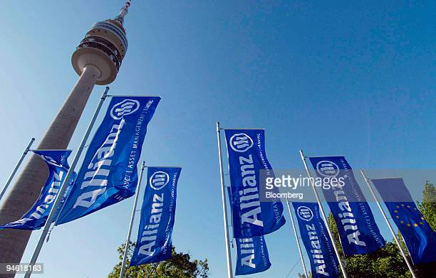 Flags with the Allianz logo fly in front of the Olympic Tower at the company's shareholders meeting in Munich Germany Wednesday May 2 2007 Allianz SE...