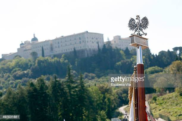A flagstaff is shown during the Polish commemoration service ceremony at Polish Cemetery on May 18 2014 in Monte Cassino Italy Prince Harry will...