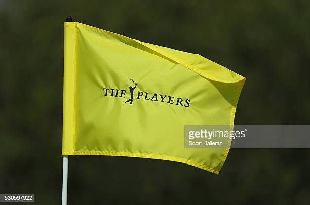 A flagstick is seen during a practice round prior to the start of THE PLAYERS Championship on the Stadium Course at TPC Sawgrass on May 11 2016 in...