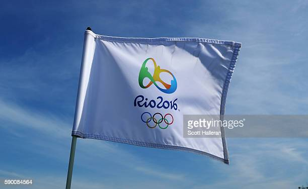 A flagstick is seen during a practice round prior to the start of the women's golf during Day 11 of the Rio 2016 Olympic Games at Olympic Golf Course...