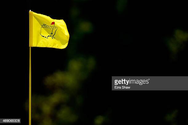 A flagstick is seen during the first round of the 2015 Masters Tournament at Augusta National Golf Club on April 9 2015 in Augusta Georgia