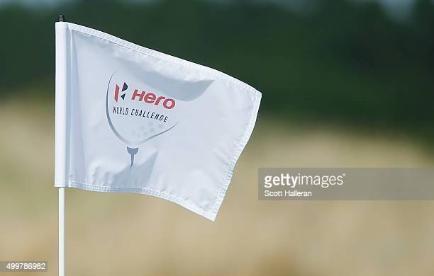 A flagstick is seen during the first round of the Hero World Challenge at Albany The Bahamas on December 3 2015 in Nassau Bahamas