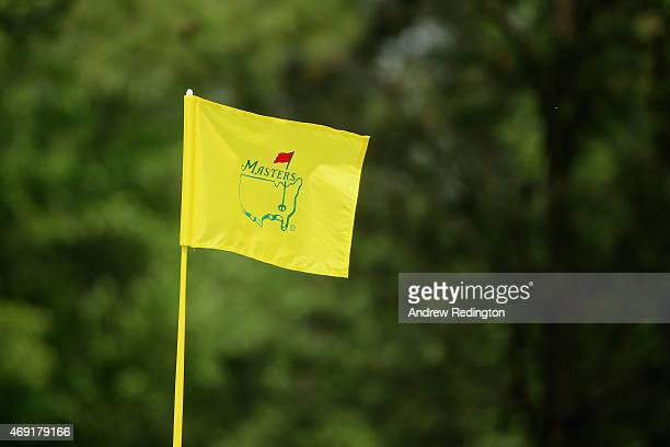 A flagstick is seen during the second round of the 2015 Masters Tournament at Augusta National Golf Club on April 10 2015 in Augusta Georgia