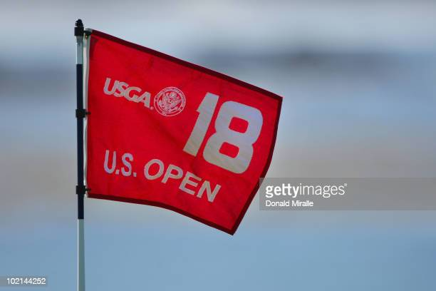 Flagstick is seen on the 18th green during a practice round prior to the start of the 110th U.S. Open at Pebble Beach Golf Links on June 16, 2010 in...