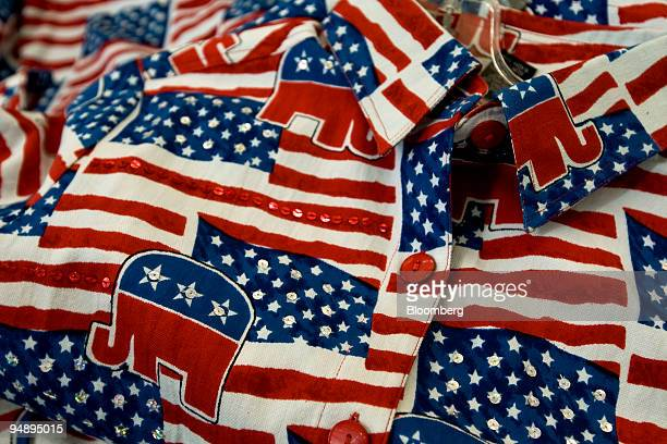 S flagthemed shirts with images of elephants the symbol of the Republican Party sit on display on day three of the Republican National Convention at...