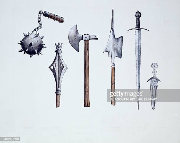 Flail mace halberd sword dagger ax weapons used during the Middle Ages drawing